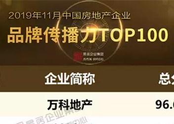 2019年11月中国房地产企业品牌传播力TOP100